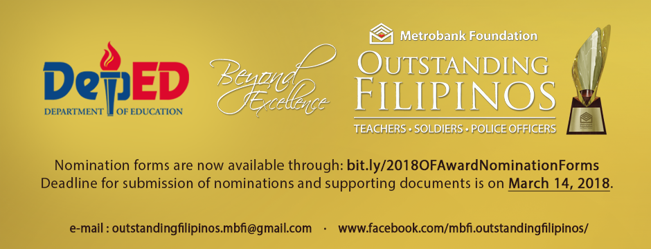 2018 Metrobank Foundation Outstanding Filipinos – Award for Teachers