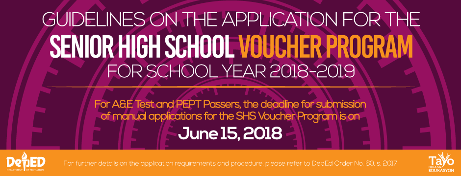 Guidelines on the Application for the SHS Voucher Program for A&E Test and PEPT Passers