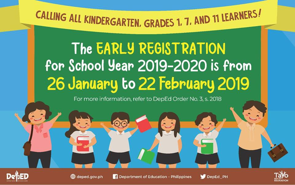 Early Registration for all Kindergarten, Grades 1, 7 and 11 Learners for SY 2019-2020 is scheduled on January 26 to February 22, 2019.